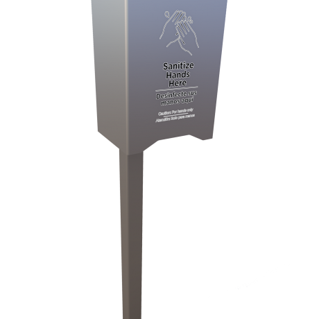 Automatic Hand Sanitizer Station Post Mount In Ground