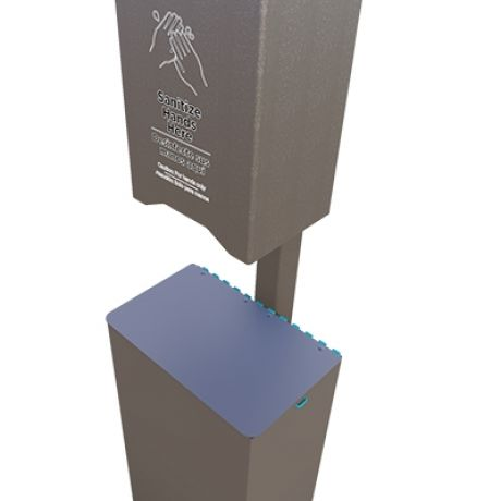 Automatic Hand Sanitizer Station Post Mount with Receptacle - In ground